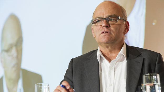 Nationalrat Andy Tschümperlin, Fraktionschef SP, an der Medienkonferenz des Verbandes Schweizer Medien am 12. September 2014 in Interlaken.