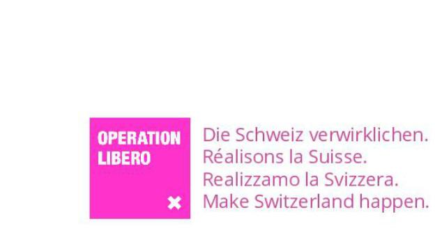 Das Logo der Bewegung «Operation Libero» mit den Schlagworten: «Die Schweiz verwirklichen».