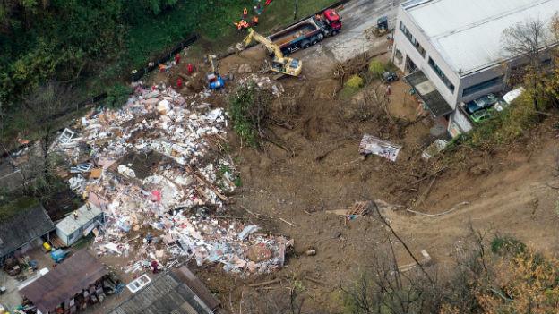 Das durch einen Erdrutsch am 16. November 2014 zerstörte Wohnhaus in Davesco-Soragno nahe Lugano.