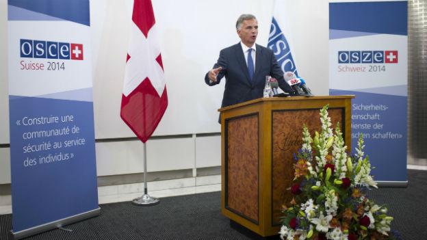 Aufnahme von Bundespräsident Didier Burkhalter, der als OSZE-Vorsitzender eine Rede hält.