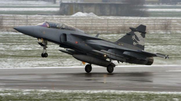 Gripen-Hersteller Saab warb am Lauberhornrennen für den Kampfjet.