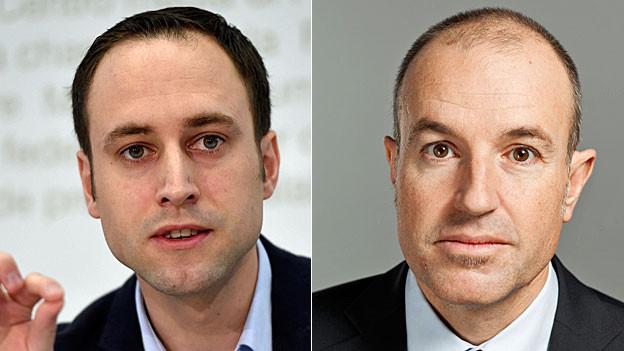 FDP-Vizepräsident Christian Wasserfallen und GLP-Nationalrat Roland Fischer. Portraitaufnahmen.
