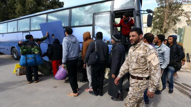 Immer mehr ausländische Gastarbeiter verlassen Libyen.