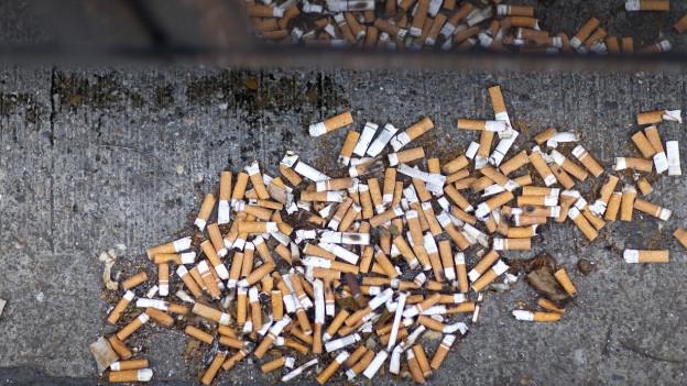 Aufnahme von Zigarettenstummel im Strassengraben.