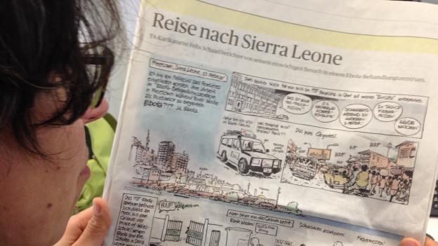 Der Blick in die heutige Ausgabe des Tagesanzeigers, mit der dreiseitigen Comic-Reportage aus einem Ebola-Behandlungszentrum in Freetown, Sierra Leone.