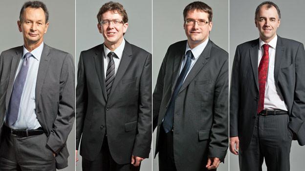 Portraits von Philipp Müller, Albert Rösti, Christian Levrat und Christophe Darbellay.