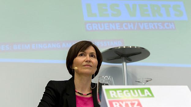 Co-Präsidentin Regula Rytz spricht an der Delegiertenversammlung der Grünen Partei der Schweiz im Hotel Engel in Liestal am 17. Januar 2015.