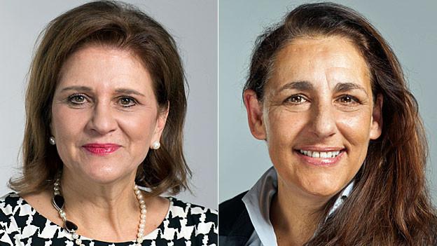 Die offiziellen Parlaments-Portraits von Doris Fiala und Jacqueline Badran.