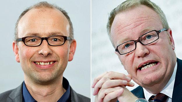 Portraitbilder von Michael Töngi und Hans Egloff.