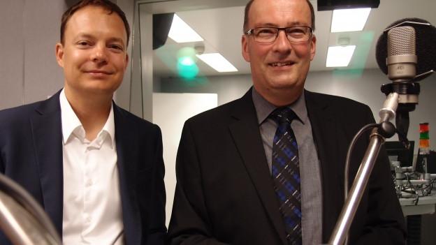 CVP-Nationalrat Markus Ritter (rechts) und Thomas Maier von den Grünliberalen im Studio.