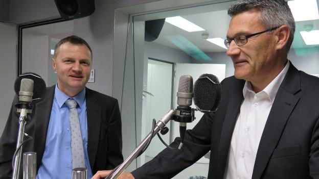 BDP-Nationalrat Bernhard Guhl (links) und SVP-Nationalrat Pirmin Schwander im Studio.