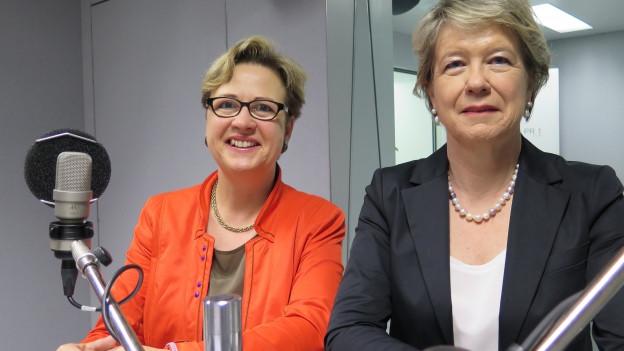 SP-Nationalrätin Edith Graf-Litscher (links) und FDP-Nationalrätin Corina Eichenberger im Studio.