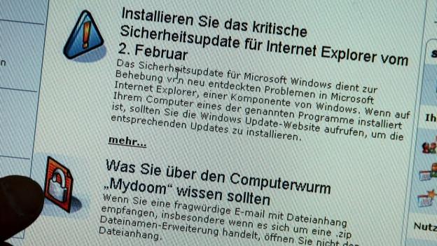 Ein Pop-Up des Betriebssystems «Windows» das vor Viren warnt.