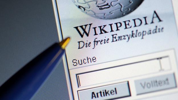 Ein Kugelschreiber liegt neben einem Bildschirm mit einem Wikipedia-Eintrag.