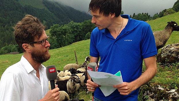 Luciano Marinello und Dominik Meier stehen nebeneinander auf einer Schafweide. Im Hintergrund das Glarner Schwändital.