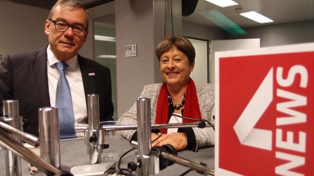 Margret Kiener Nellen (SP) und Ruedi Noser (FDP) im Studio von Radio SRF in Bern.