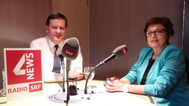 SP-Ständerätin Anita Fetz und SVP-Ständerat Roland Eberle diskutieren über die Energiezukunft der Schweiz.