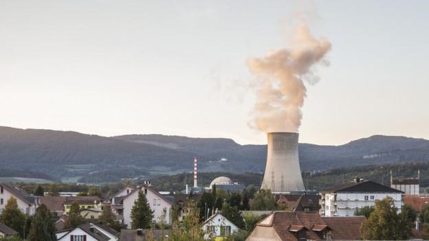 Der dampfende Kühlturm des AKWs Gösgen im Kanton Solothurn hinter Wohnhäusern.