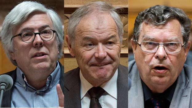 SP-Nationalrat Andreas Gross, CVP-Ständerat Peter Bieri und SVP-Nationalrat Bortoluzzi (von links nach rechts).