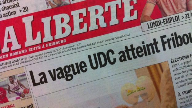 Titelblatt der Tageszeitung La Liberté, auf dem der SVP-Wahlsieg thematisiert wird.