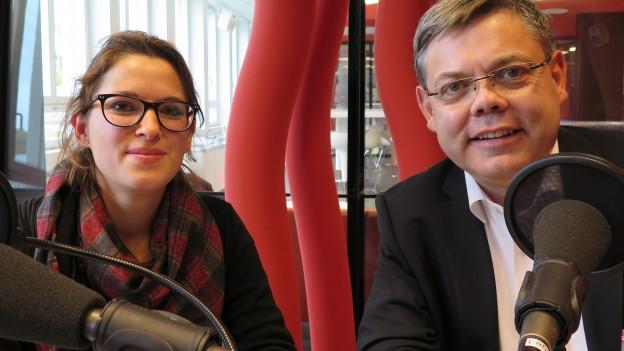 Mattea Meyer (SP/ZH) und Franz Grüter (SVP/LU) diskutieren im Radiostudio Zürich.