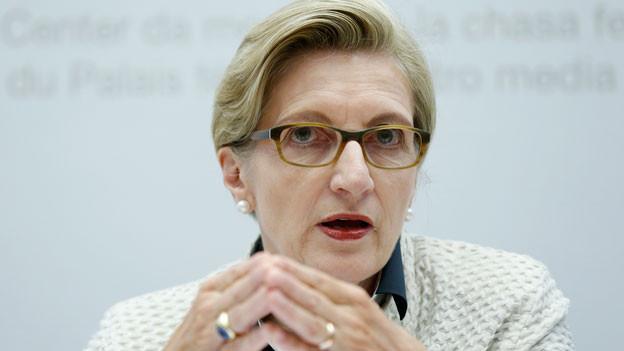 FDP-Fraktionspräsidentin Gabi Huber, zieht Bilanz über die vergangene Legislatur, während einer Medienkonferenz, am Mittwoch, 9. September 2015, in Bern.