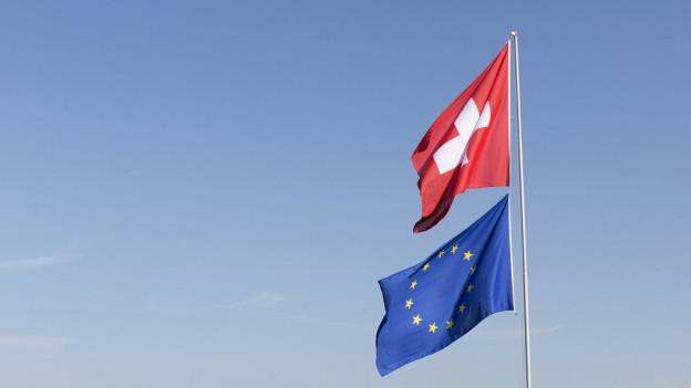 Die Schweizer und die EU Flagge flattern im Wind