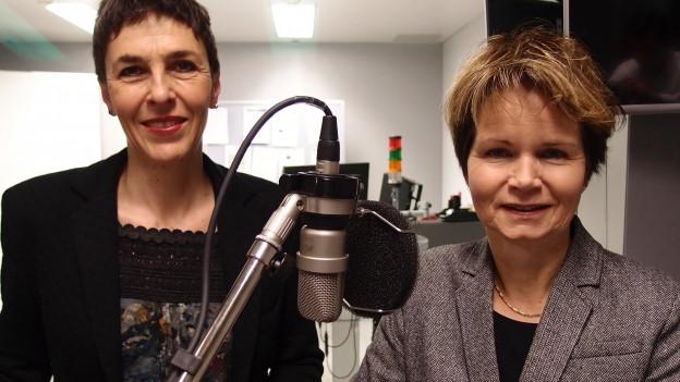 SP-Nationalrätin Barbara Gysi (links) und CVP-Ständerätin Brigitte Häberli im Radiostudio Bern.