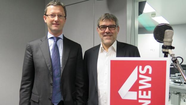 Auf dem Bild zu sehen sind die beiden Nationalräte Peter Keller (SVP) und Eric Nussbaumer (SP).