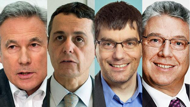Portraitbilder der vier Fraktionspräsidenten.