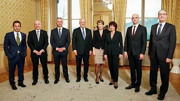 Gruppenbild des Bundesrates in neuer Zusammensetzung.