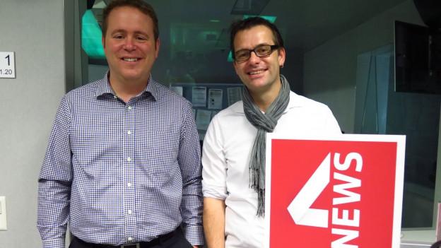Das Bild zeigt Dominik Feusi, Journalist bei der Basler Zeitung und Marc Bühlmann, Politologe an der Universität Bern.