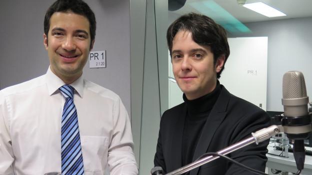 FDP-Ständerat Andrea Caroni (links) und SP-Nationalrat Jean Christophe Schwaab im Radiostudio Bern.