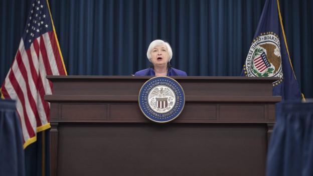 US-Notenbankchefin Janet Yellen an einer Pressekonferenz.