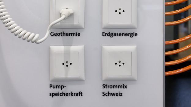 Steckdosen, die mit verschiedenen Stromerzeugungsarten angeschrieben sind.
