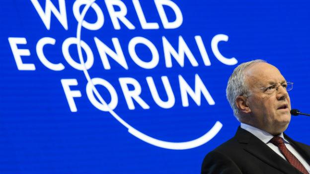 Bundespräsident Schneider-Ammann während seiner Eröffnungsrede am WEF in Davos.