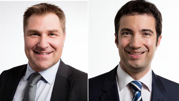 Toni Brunner, SVP-Parteipräsident (l) und Andrea Caroni, Ständerat der FDP des Kantons Apppenzell Ausserrhoden.