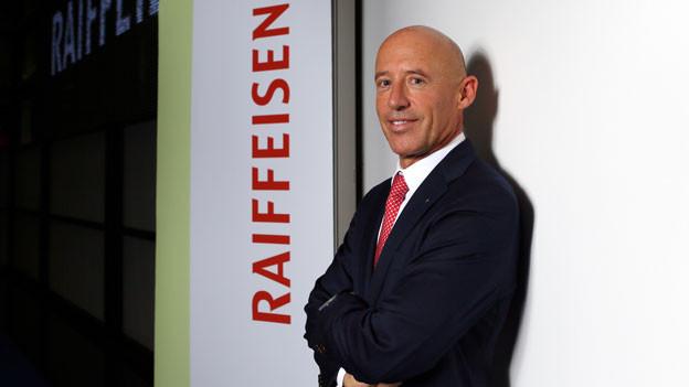 Patrik Gisel, Vorsitzender der Geschäftsleitung der Raiffeisen anlässlich der Bilanz-Medienkonferenz am Freitag, 26. Februar 2016 in der Boerse in Zürich.