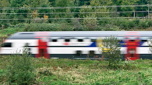 Ein Zug auf der Fahrt zwischen Bern und Zürich.