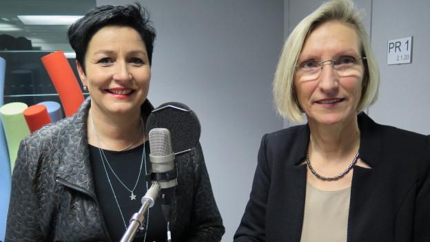 FDP-Nationalrätin Daniela Schneeberger (links) und SP-Nationalrätin Prisca Birrer-Heimo diskutieren im Studio über die Unternehmenssteuerreform III.