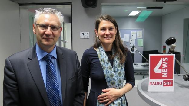 Das Bild zeigt Andreas Glarner, SVP-Nationalrat aus dem Aargau und Tiana Moser, Nationalrätin für die Grünliberalen aus dem Kanton Zürich.