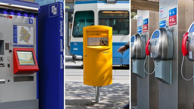 Zu sehen sind ein Ticket-Schalter, ein Briefkasten sowie Telefonzellen - Symbole für den Service Public