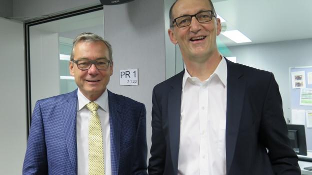 Über Steuerabzüge für Gebäudesanierungen haben die Ständeräte Ruedi Noser (FDP/ZH, links) und Werner Hösli (SVP/GL) diskutiert.
