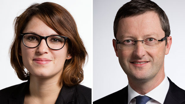 Mattea Meyer (links), Nationalrätin der SP des Kantons Zürich und Peter Keller, Nationalrat der SVP des Kantons Nidwalden.