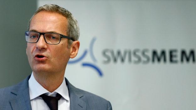Peter Dietrich, Direktor des Branchenverbandes Swissmem während einer Pressekonferenz im August 2015.