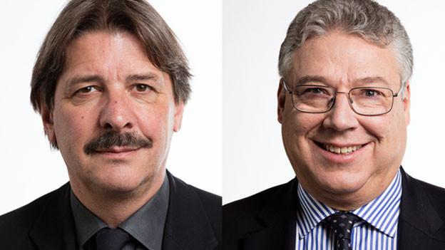 Die Ständeräte Filippo Lombardi, CVP, (rechts) und Paul Rechsteiner, SP, (links).