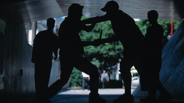 Gestellte Aufnahme mit Jugendliche, die sich im Gegenlicht bekämpfen.