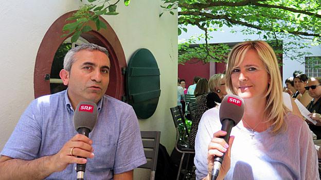 Mustafa Atici, SP-Grossrat Baselstadt und Jasna Milanovic, Präsidentin Neue Heimat Schweiz Basel.