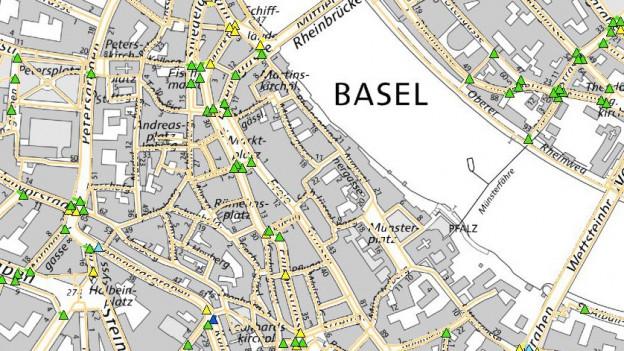 Das Bild zeigt einen Kartenausschnitt von Basel Stadt mit Sicherheitseingaben