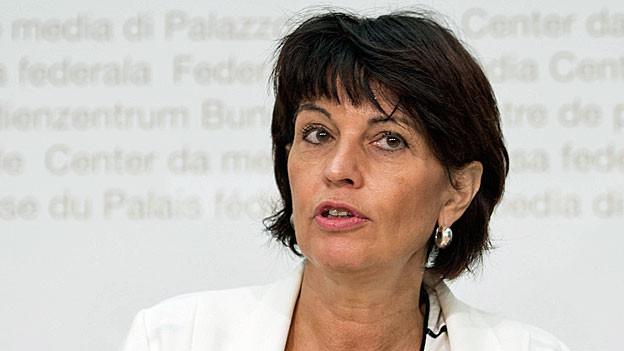 Bundesrätin Doris Leuthard an der Medienkonferenz am 1. September im Bundeshaus.